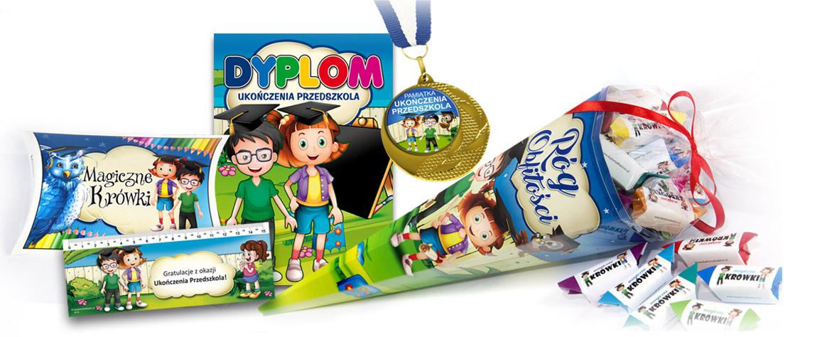 Sprawdź promocyjne zestawy dyplomów dla dzieci, rożków obfitości i innych produktów